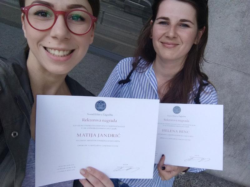 Studij dizajna - Helena Benc i Matija Jandrić dobitnice rektorove nagrade